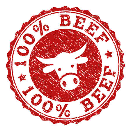 100% Beef stamp seal with grunged texture. Designed with bull head symbol. Red vector rubber stamp with 100% BEEF text and rosette round shape. Designed for steak houses, butchery shops, meat markets. Illustration