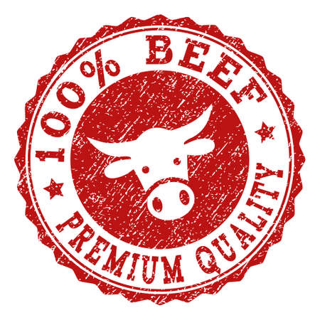 100% Beef Premium Quality stamp seal with grunged texture. Designed with bull head symbol. Red vector rubber stamp with 100% BEEF PREMIUM QUALITY text and rosette round shape. Stockfoto - 111161105