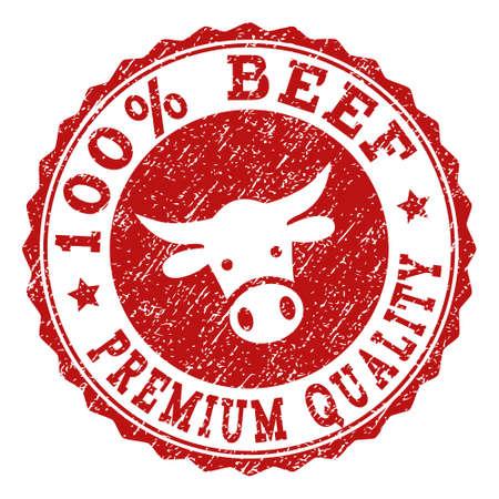 Pieczęć pieczęć 100% wołowiny Premium Quality z teksturą grunge. Zaprojektowany z symbolem głowy byka. Czerwony stempel wektorowy z napisem 100% BEEF PREMIUM QUALITY i okrągłym kształtem rozety.