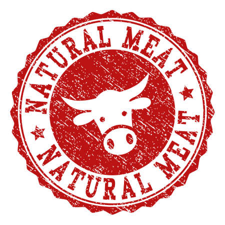 Natural Meat stamp seal with grunged texture. Designed with bull head symbol. Red vector rubber stamp with NATURAL MEAT text and rosette round shape. Designed for steak houses, butchery shops,