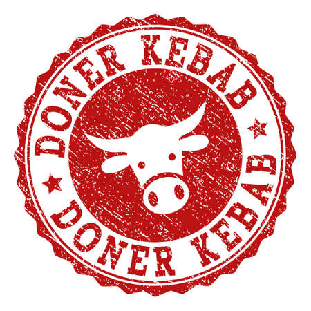 Doner Kebab stamp seal with grunged texture. Designed with cow head symbol. Red vector rubber stamp with DONER KEBAB text and rosette round shape. Designed for steak houses, butchery shops,