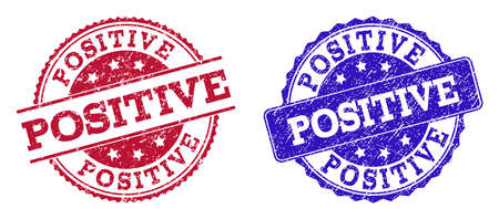 Grunge POSITIVE seal stamps in blue and red colors. Stamps have distress texture. Vector rubber imitation with Positive text. Illustration design includes round, rounded rectangle, medallion,