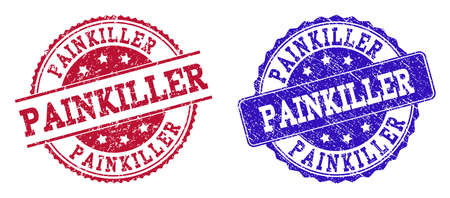 Grunge PAINKILLER seal stamps in blue and red colors. Stamps have draft texture. Vector rubber imitation with Painkiller text. Illustration design includes circle, rounded rectangle, medallion,