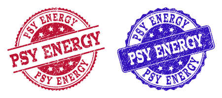 Grunge PSY ENERGY seal stamps in blue and red colors. Stamps have draft style. Vector rubber imitation with Psy Energy text. Illustration design includes round, rounded rectangle, rosette, line items. Reklamní fotografie - 128560543
