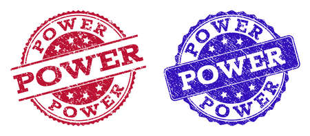 Grunge POWER seal stamps in blue and red colors. Stamps have distress style. Vector rubber imitation with Power text. Illustration design includes circle, rounded rectangle, rosette, line items. Ilustrace