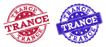 Grunge TRANCE seal stamps in blue and red colors. Stamps have distress texture. Vector rubber imitation with Trance text. Illustration design includes round, rounded rectangle, medallion, line items. Ilustrace
