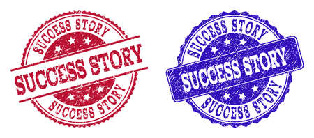 Grunge SUCCESS STORY seal stamps in blue and red colors. Stamps have draft style. Vector rubber imitation with Success Story text. Illustration design includes round, rounded rectangle, medallion,