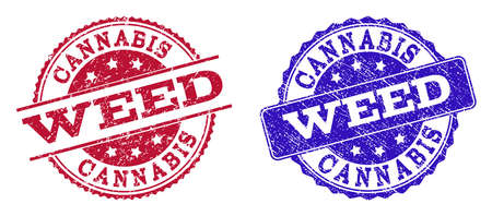 Grunge WEED seal stamps in blue and red colors. Stamps have distress texture. Vector rubber imitation with Weed text. Illustration design includes circle, rounded rectangle, medallion, line items.
