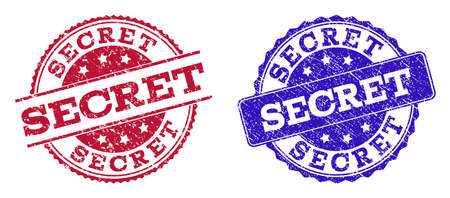 Grunge SECRET seal stamps in blue and red colors. Stamps have draft style. Vector rubber imitation with Secret text. Illustration design includes circle, rounded rectangle, rosette, line items.