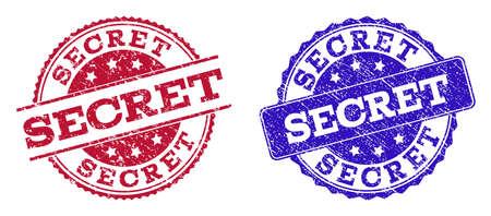 Timbres de sceau grunge SECRET dans les couleurs bleu et rouge. Les timbres ont un style brouillon. Imitation de caoutchouc de vecteur avec texte secret. La conception d'illustration comprend un cercle, un rectangle arrondi, une rosette, des éléments de ligne.