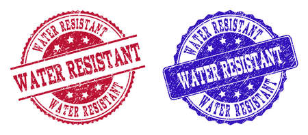 Grunge WATER RESISTANT seal stamps in blue and red colors. Stamps have draft style. Vector rubber imitation with Water Resistant text. Illustration design includes circle, rounded rectangle, rosette,