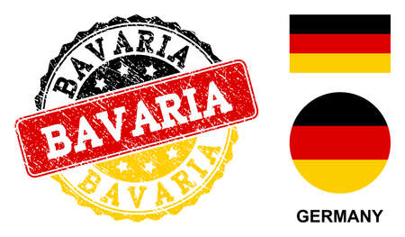 Bavaria stamp seal. Vector rubber watermark with official colors of Germany flag. Designed for Bavaria patriotic purposes. Grainy design and dust texture are used. Illustration