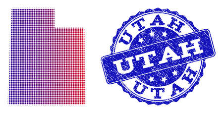 Halftone dot map of Utah State and blue rubber seal stamp. Vector halftone map of Utah State constructed with regular small spheric dots and has gradient from blue to red color.