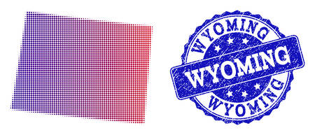 Halftone dot map of Wyoming State and blue rubber seal. Vector halftone map of Wyoming State designed with regular small round dots and has gradient from blue to red color. 스톡 콘텐츠 - 128560602