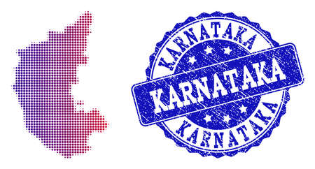 Halftone dot map of Karnataka State and blue grunge seal stamp. Vector halftone map of Karnataka State designed with regular small round points and has gradient from blue to red color.