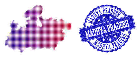 Halftone dot map of Madhya Pradesh State and blue rubber seal. Vector halftone map of Madhya Pradesh State designed with regular small round dots and has gradient from blue to red color. Illustration