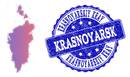 Halftone dot map of Krasnoyarskiy Kray and blue rubber stamp. Vector halftone map of Krasnoyarskiy Kray constructed with regular small circle points and has gradient from blue to red color.