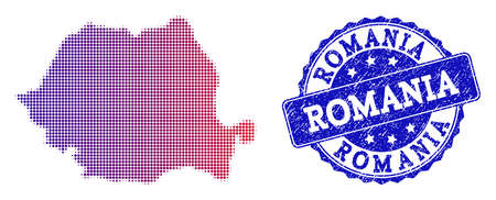 Halftone dot map of Romania and blue rubber seal. Vector halftone map of Romania constructed with regular small round points and has gradient from blue to red color. Ilustração