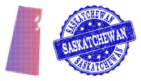 Halftone dot map of Saskatchewan Province and blue rubber seal stamp. Vector halftone map of Saskatchewan Province constructed with regular small circle points and has gradient from blue to red color. Illustration