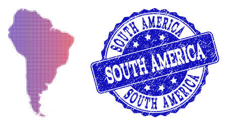 Halftone dot map of South America and blue rubber seal. Vector halftone map of South America designed with regular small round points and has gradient from blue to red color. Illustration