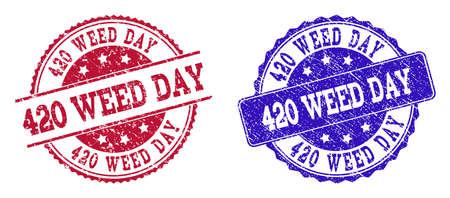 垃圾420杂草日印章在蓝色和红色。邮票有吃水表面。矢量橡胶模仿420杂草日文字。插图设计包括圆形、圆角矩形、玫瑰形、