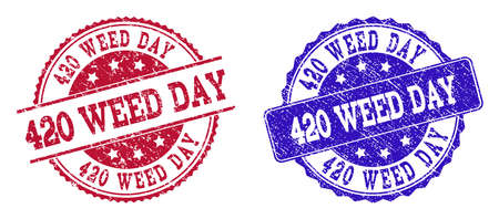Grunge 420 WEED DAY seal stamps in blue and red colors. Stamps have draft surface. Vector rubber imitation with 420 Weed Day text. Illustration design includes round, rounded rectangle, rosette, Illustration