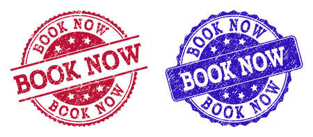 Grunge BOOK NOW seal stamps in blue and red colors. Stamps have distress texture. Vector rubber imitation with Book Now text. Illustration design includes circle, rounded rectangle, rosette,