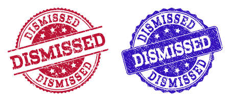 Grunge DISMISSED seal stamps in blue and red colors. Stamps have distress texture. Vector rubber imitation with Dismissed text. Illustration design includes circle, rounded rectangle, rosette,