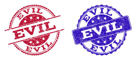 Grunge EVIL seal stamps in blue and red colors. Stamps have draft texture. Vector rubber imitation with Evil text. Illustration design includes round, rounded rectangle, rosette, line items.
