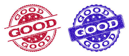 Grunge GOOD seal stamps in blue and red colors. Stamps have distress style. Vector rubber imitation with Good text. Illustration design includes round, rounded rectangle, medallion, line items. Ilustrace