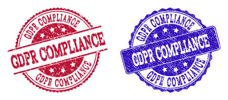 Grunge GDPR COMPLIANCE seal stamps in blue and red colors. Stamps have distress texture. Vector rubber imitation with Gdpr Compliance text. Illustration design includes round, rounded rectangle, Фото со стока - 128560751