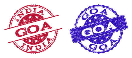 Grunge GOA seal stamps in blue and red colors. Stamps have distress style. Vector rubber imitation with Goa text. Illustration design includes round, rounded rectangle, rosette, line items.
