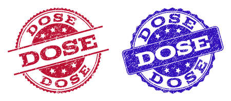 Grunge DOSE seal stamps in blue and red colors. Stamps have draft surface. Vector rubber imitation with Dose text. Illustration design includes circle, rounded rectangle, rosette, line items.