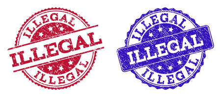 Timbri di sigillo ILLEGALI grunge nei colori blu e rosso. I francobolli hanno una superficie di afflizione. Imitazione di gomma vettoriale con testo illegale. Il design dell'illustrazione include rettangolo rotondo, arrotondato, medaglione,