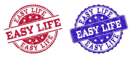 Grunge EASY LIFE seal stamps in blue and red colors. Stamps have distress surface. Vector rubber imitation with Easy Life text. Illustration design includes circle, rounded rectangle, medallion, Stockfoto - 111223587