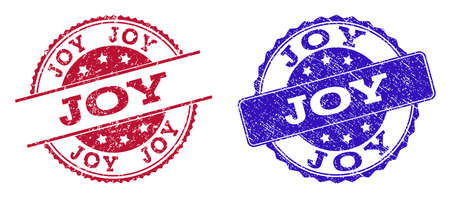 Grunge JOY seal stamps in blue and red colors. Stamps have draft surface. Vector rubber imitation with Joy text. Illustration design includes circle, rounded rectangle, medallion, line items.