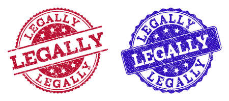 Grunge LEGALLY seal stamps in blue and red colors. Stamps have draft texture. Vector rubber imitation with Legally text. Illustration design includes round, rounded rectangle, rosette, line items.