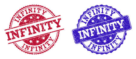 Grunge INFINITY seal stamps in blue and red colors. Stamps have distress style. Vector rubber imitation with Infinity text. Illustration design includes circle, rounded rectangle, rosette, line items.