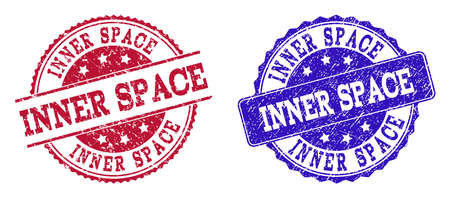 Grunge INNER SPACE seal stamps in blue and red colors. Stamps have draft style. Vector rubber imitation with Inner Space text. Illustration design includes round, rounded rectangle, medallion,