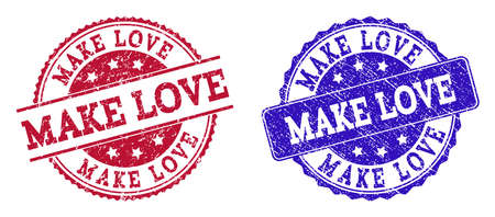 Grunge MAKE LOVE seal stamps in blue and red colors. Stamps have distress style. Vector rubber imitation with Make Love text. Illustration design includes round, rounded rectangle, rosette,