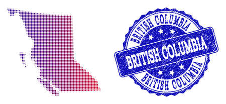 Halftone dot map of British Columbia Province and blue rubber stamp. Vector halftone map of British Columbia Province constructed with regular small round dots and has gradient from blue to red color.