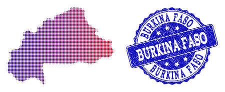 Halftone dot map of Burkina Faso and blue unclean seal. Vector halftone map of Burkina Faso constructed with regular small spheric dots and has gradient from blue to red color. Illustration