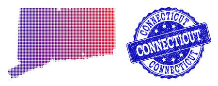 Halftone dot map of Connecticut State and blue unclean seal stamp. Vector halftone map of Connecticut State constructed with regular small round dots and has gradient from blue to red color.