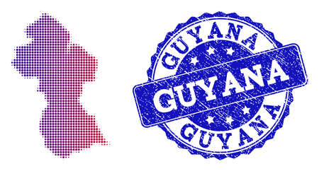 Halftone dot map of Guyana and blue rubber stamp. Vector halftone map of Guyana designed with regular small spheric points and has gradient from blue to red color. Illustration