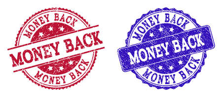 Grunge MONEY BACK seal stamps in blue and red colors. Stamps have distress style. Vector rubber imitation with Money Back text. Illustration design includes circle, rounded rectangle, rosette,