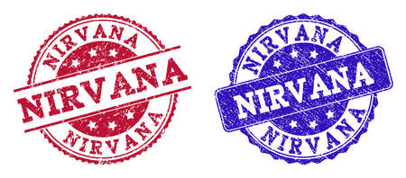 Grunge NIRVANA seal stamps in blue and red colors. Stamps have distress style. Vector rubber imitation with Nirvana text. Illustration design includes circle, rounded rectangle, medallion, line items. Ilustração