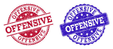 Grunge OFFENSIVE seal stamps in blue and red colors. Stamps have draft style. Vector rubber imitation with Offensive text. Illustration design includes circle, rounded rectangle, rosette, line items.