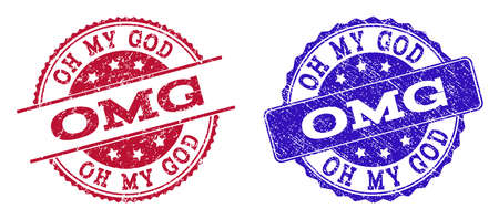 Grunge OMG seal stamps in blue and red colors. Stamps have distress surface. Vector rubber imitation with Omg text. Illustration design includes round, rounded rectangle, rosette, line items. Ilustração