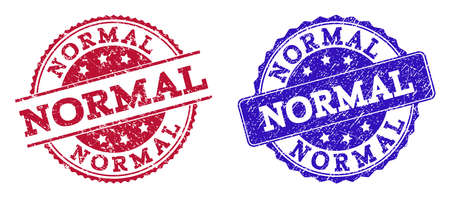Grunge NORMAL seal stamps in blue and red colors. Stamps have draft style. Vector rubber imitation with Normal text. Illustration design includes round, rounded rectangle, rosette, line items.