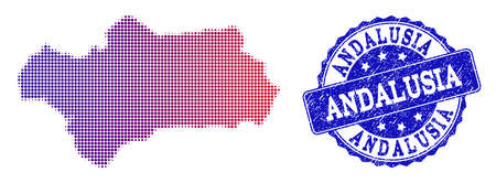 Halftone dot map of Andalusia Province and blue unclean seal stamp. Vector halftone map of Andalusia Province designed with regular small circle points and has gradient from blue to red color. Stock Illustratie
